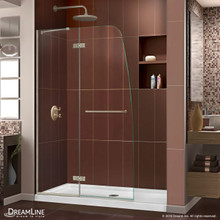 DreamLine Aqua Ultra 45 in. W x 72 in. H Frameless Hinged Shower Door in Brushed Nickel