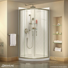 DreamLine Prime 33 in. x 76 3/4 in. Semi-Frameless Clear Glass Sliding Shower Enclosure in Brushed Nickel with Base and Backwalls