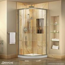 DreamLine Prime 33 in. x 74 3/4 in. Semi-Frameless Clear Glass Sliding Shower Enclosure in Brushed Nickel with White Base Kit