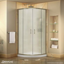 DreamLine Prime 33 in. x 74 3/4 in. Semi-Frameless Frosted Glass Sliding Shower Enclosure in Brushed Nickel with White Base Kit
