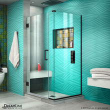 DreamLine Unidoor Plus 34 in. W x 34 3/8 in. D x 72 in. H Frameless Hinged Shower Enclosure in Satin Black