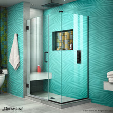DreamLine Unidoor Plus 38 in. W x 34 3/8 in. D x 72 in. H Frameless Hinged Shower Enclosure in Satin Black