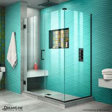 DreamLine Unidoor Plus 47 in. W x 30 3/8 in. D x 72 in. H Frameless Hinged Shower Enclosure in Satin Black