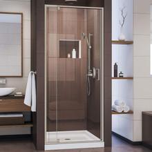 DreamLine Flex 32 in. D x 32 in. W x 74 3/4 in. H Semi-Frameless Pivot Shower Door in Brushed Nickel and Center Drain White Base