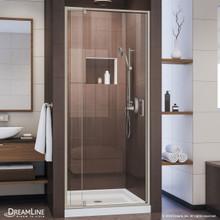 DreamLine Flex 36 in. D x 36 in. W x 74 3/4 in. H Semi-Frameless Pivot Shower Door in Brushed Nickel and Center Drain White Base
