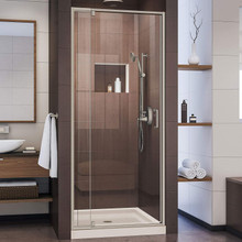 DreamLine Flex 36 in. D x 36 in. W x 74 3/4 in. H Semi-Frameless Pivot Shower Door in Brushed Nickel and Center Drain Biscuit Base