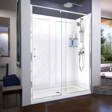 DreamLine Flex 32 in. D x 60 in. W x 76 3/4 in. H Semi-Frameless Shower Door in Chrome with Center Drain White Base and Backwalls