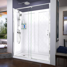DreamLine Flex 32 in. D x 60 in. W x 76 3/4 in. H Semi-Frameless Shower Door in Chrome with Left Drain White Base and Backwalls
