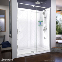 DreamLine Flex 34 in. D x 60 in. W x 76 3/4 in. H Semi-Frameless Shower Door in Chrome with Center Drain White Base and Backwalls