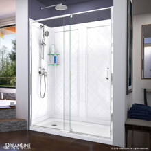 DreamLine Flex 34 in. D x 60 in. W x 76 3/4 in. H Semi-Frameless Shower Door in Chrome with Left Drain White Base and Backwalls