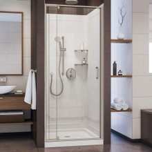 DreamLine Flex 32 in. D x 32 in. W x 76 3/4 in. H Semi-Frameless Shower Door in Brushed Nickel with White Base and Backwalls
