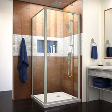 DreamLine Flex 32 in. D x 32 in. W x 74 3/4 in. H Semi-Frameless Pivot Shower Enclosure and Biscuit Base in Brushed Nickel