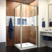 DreamLine Flex 36 in. D x 36 in. W x 74 3/4 in. H Semi-Frameless Pivot Shower Enclosure and White Base in Brushed Nickel