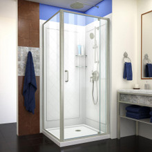 DreamLine Flex 32 in. D x 32 in. W x 76 3/4 in. H Semi-Frameless Shower Enclosure in Brushed Nickel with White Base and Backwalls