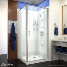 DreamLine Flex 36 in. D x 36 in. W x 76 3/4 in. H Semi-Frameless Shower Enclosure in Brushed Nickel with White Base and Backwalls