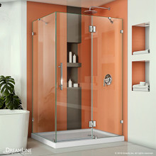 DreamLine Quatra Lux 34 1/4 in. D x 46 3/8 in. W x 72 in. H Frameless Hinged Shower Enclosure in Chrome