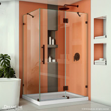 DreamLine Quatra Lux 34 1/4 in. D x 46 3/8 in. W x 72 in. H Frameless Hinged Shower Enclosure in Oil Rubbed Bronze