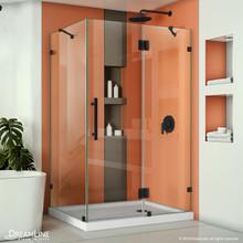DreamLine Quatra Lux 34 1/4 in. D x 46 3/8 in. W x 72 in. H Frameless Hinged Shower Enclosure in Satin Black
