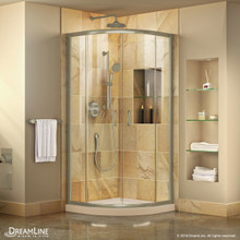 DreamLine Prime 33 in. x 74 3/4 in. Semi-Frameless Clear Glass Sliding Shower Enclosure in Brushed Nickel with Biscuit Base Kit