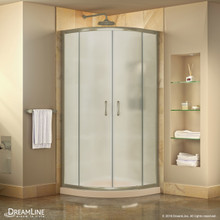 DreamLine Prime 33 in. x 74 3/4 in. Semi-Frameless Frosted Glass Sliding Shower Enclosure in Brushed Nickel with Biscuit Base Kit