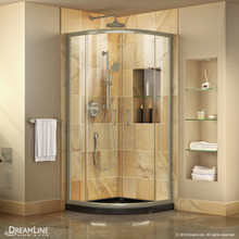DreamLine Prime 33 in. x 74 3/4 in. Semi-Frameless Clear Glass Sliding Shower Enclosure in Brushed Nickel with Black Base Kit