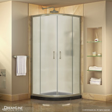 DreamLine Prime 36 in. x 74 3/4 in. Semi-Frameless Frosted Glass Sliding Shower Enclosure in Brushed Nickel with Black Base Kit