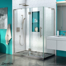 DreamLine Quatra Plus 34 in. D x 46 in. W x 72 in. H Frameless Hinged Shower Enclosure in Brushed Nickel