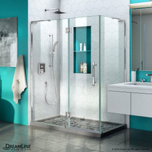 DreamLine Quatra Plus 32 in. D x 46 in. W x 72 in. H Frameless Hinged Shower Enclosure in Chrome