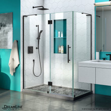 DreamLine Quatra Plus 32 in. D x 46 in. W x 72 in. H Frameless Hinged Shower Enclosure in Satin Black