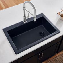 Ruvati 33 x 22 inch epiGranite Dual-Mount Granite Composite Single Bowl Kitchen Sink - Midnight Black - RVG1033BK