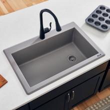 Ruvati 33 x 22 inch epiGranite Dual-Mount Granite Composite Single Bowl Kitchen Sink - Urban Gray - RVG1033GR