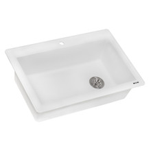 Ruvati 33 x 22 inch epiGranite Dual-Mount Granite Composite Single Bowl Kitchen Sink - Arctic White - RVG1033WH
