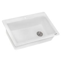 Ruvati 33 x 22 inch epiGranite Dual-Mount Granite Composite Single Bowl Kitchen Sink - Arctic White - RVG1033WH