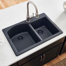 Ruvati 33 x 22 inch epiGranite Dual-Mount Granite Composite Double Bowl Kitchen Sink - Midnight Black - RVG1344BK