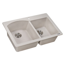 Ruvati 33 x 22 inch epiGranite Dual-Mount Granite Composite Double Bowl Kitchen Sink - Caribbean Sand - RVG1344CS