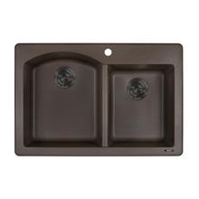 Ruvati 33 x 22 inch epiGranite Dual-Mount Granite Composite Double Bowl Kitchen Sink - Espresso Brown - RVG1344ES