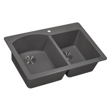 Ruvati 33 x 22 inch epiGranite Dual-Mount Granite Composite Double Bowl Kitchen Sink - Urban Gray - RVG1344GR