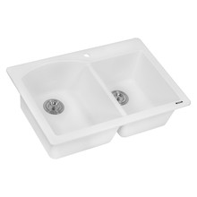 Ruvati 33 x 22 inch epiGranite Dual-Mount Granite Composite Double Bowl Kitchen Sink - Arctic White - RVG1344WH