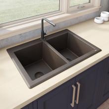 Ruvati 33 x 22 inch epiGranite Dual-Mount Granite Composite Double Bowl Kitchen Sink - Espresso Brown - RVG1338ES