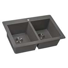 Ruvati 33 x 22 inch epiGranite Dual-Mount Granite Composite Double Bowl Kitchen Sink - Urban Gray - RVG1338GR