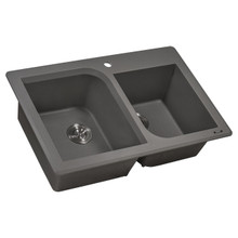 Ruvati 33 x 22 inch epiGranite Dual-Mount Granite Composite Double Bowl Kitchen Sink - Urban Gray - RVG1396GR