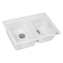 Ruvati 33 x 22 inch epiGranite Dual-Mount Granite Composite Double Bowl Kitchen Sink - Arctic White - RVH1396WH