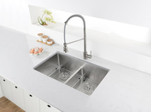 Ruvati 28-inch Low-Divide Undermount Tight Radius 60/40 Double Bowl 16 Gauge Stainless Steel Kitchen Sink - RVH7255