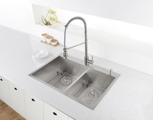 Ruvati 33-inch Drop-in Low-Divide Zero Radius 50/50 Double Bowl 16 Gauge Topmount Kitchen Sink - RVH8055