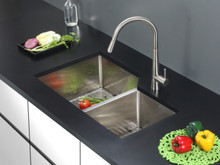 "Ruvati 33"" Undermount 16 Gauge Double Bowl Kitchen Sink - RVH8150"