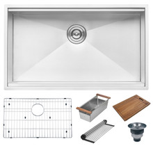 Ruvati 32-inch Workstation Ledge Undermount 16 Gauge Stainless Steel Kitchen Sink Single Bowl - RVH8300