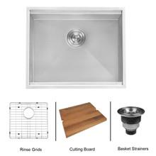 "Ruvati 23"" Workstation Ledge Bar Prep Kitchen Sink Undermount 16 Gauge Stainless Steel Single Bowl - RVH8308"