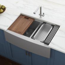 "Ruvati 36"" Apron-front Workstation Low-Divide Double Bowl 50/50 Farmhouse Kitchen Sink 16 Gauge Stainless Steel - RVH9301"