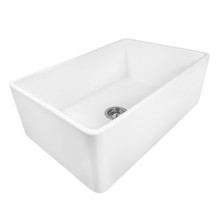 Ruvati 30 x 20 inch Fireclay Reversible Farmhouse Apron-Front Kitchen Sink Single Bowl - White - RVL2100WH
