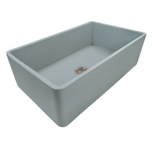 Ruvati 33 x 20 inch Fireclay Reversible Farmhouse Apron-Front Kitchen Sink Single Bowl - Horizon Gray - RVL2300GR